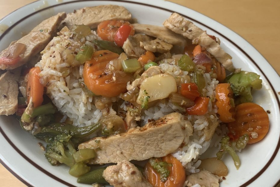 Finished stir fry dish on plate