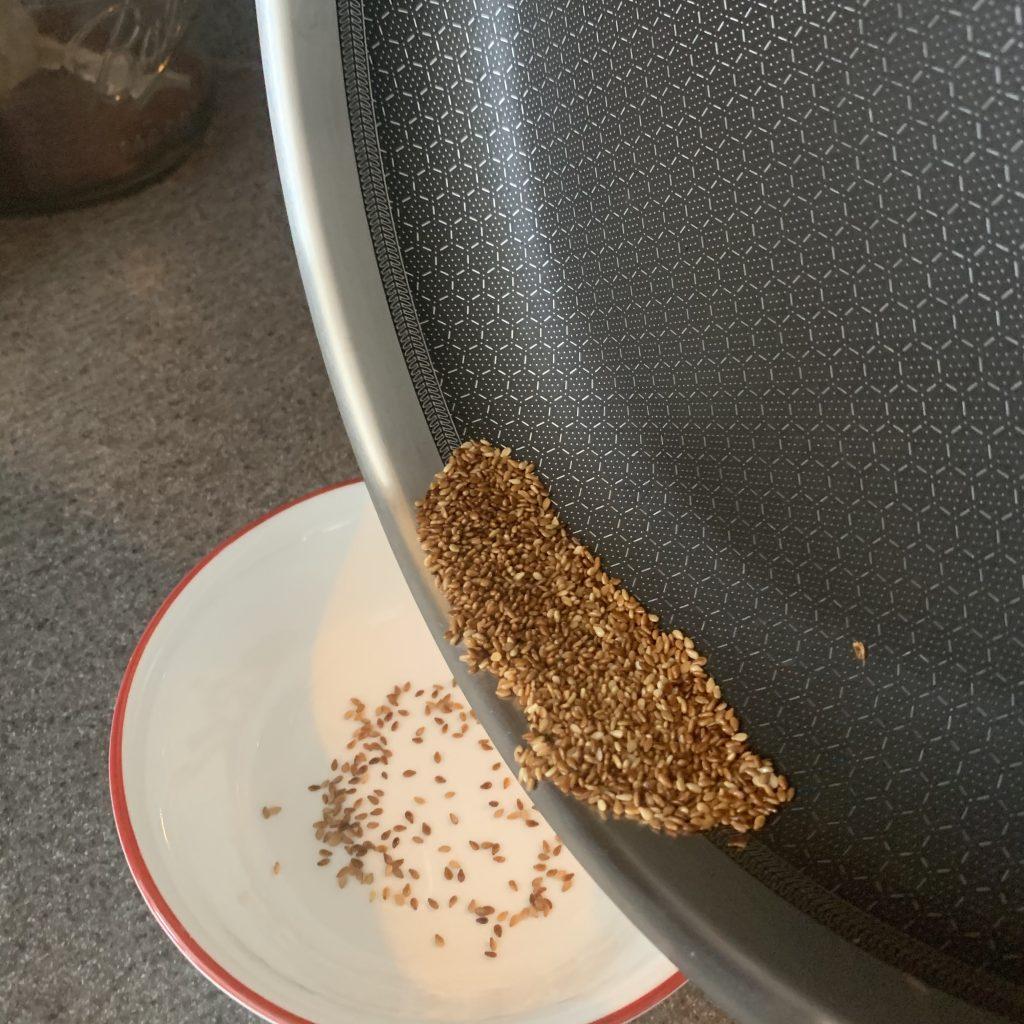 adding seeds to bowl